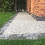 Pathway to side of garage. Resin pathway