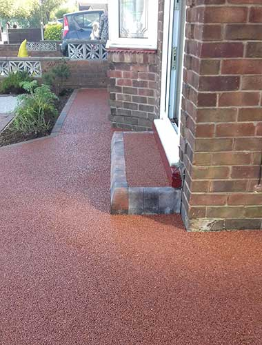 Red resin step and path