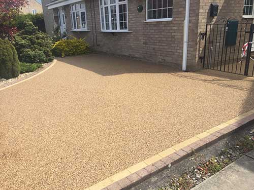 resin driveway with block edge