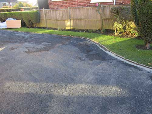 Left side of old tarmac driveway