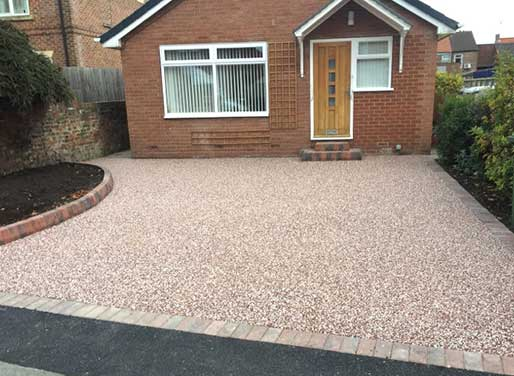 Completed resin driveway in red shade in Hedon near Hull