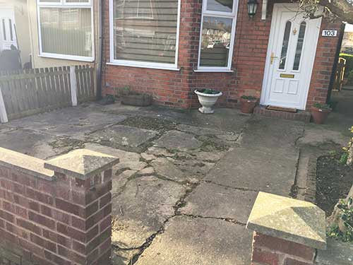 Badly damaged concrete garden Hull