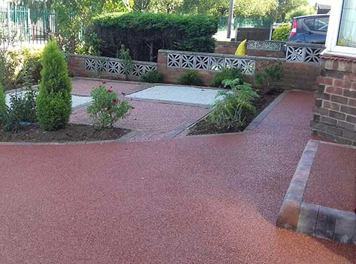Red pathway at front of resin drive. Scunthorpe