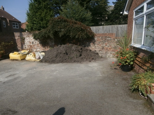 Digging out old tarmac to install new resin driveway in Hedon near Hull