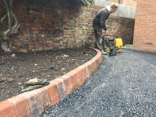 Edge stones of main driveway for resin drive in Hedon near Hull.