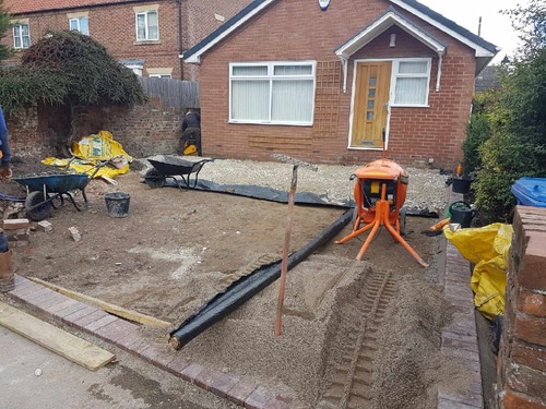 Groundworks for resin drive in Hedon near Hull. Stone laying