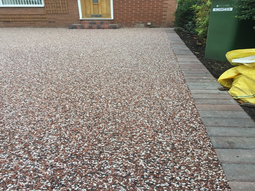 Right hand side of resin drivway in Hedon near Hull
