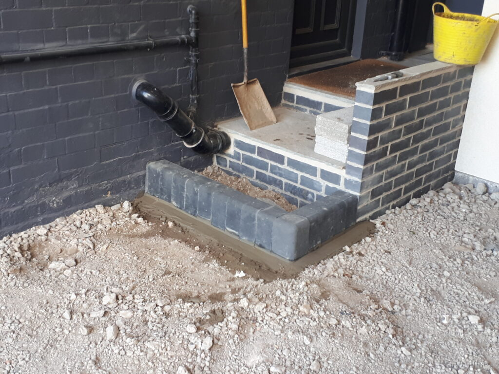 Newly built steps