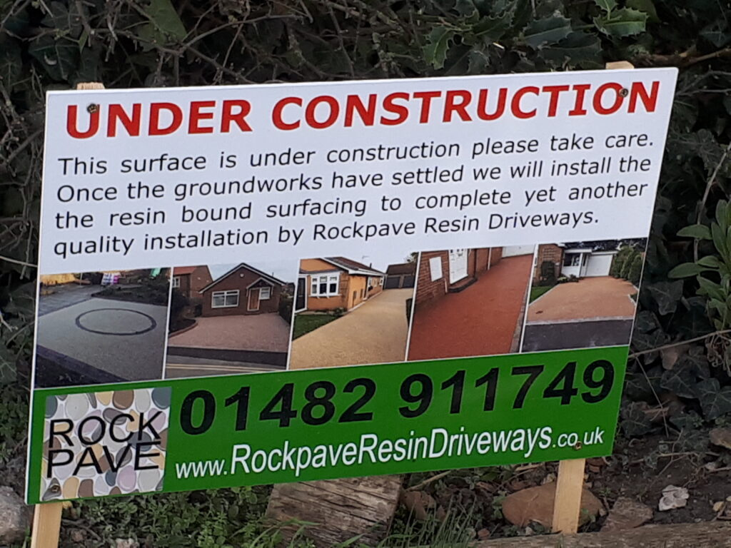 Rockpave Resin Driveways sign